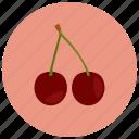 cherries, food, fruit, organic icon
