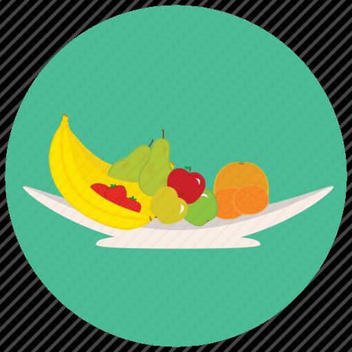 apple, banana, bowl, fruit, fruits, orange icon