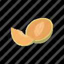 cantaloupe, dessert, fruit, melon, muskmelon, plant icon