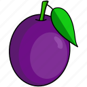 drupe, food, fruit, leaf, plum icon