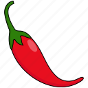 chili, colour, food, hot, pepper, red, vegetable icon