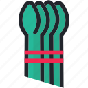 asparagus, food, gastronomy, healthy, kitchen, vegetable icon