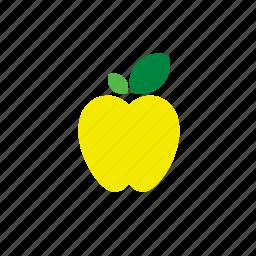 apple, food, fruit, yellow icon
