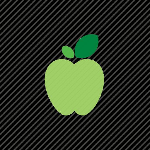 apple, food, fruit, green icon