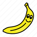banana, character, food, fruit, organic