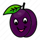 character, food, fruit, organic, plum