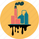 building, energy, factory, fuel, industry, oil, pollution, refinery, splash icon