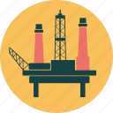 drilling, energy, ocean, offshore, oil, ossil, platform, rig, sea icon