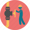 compter, construction, crane, fuel, gas, oil, operator, person, sensor, valve icon