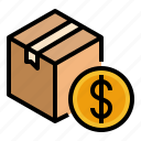 cash, cod, coin, delivery, money, on, parcel icon