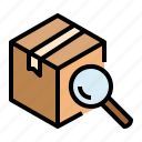 box, package, parcel, search, tracking icon