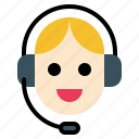 contact, helpdask, operator, support, woman icon