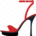 fashion, female, flat, heel, high, sandal, shoe icon