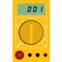 digital, electronic, equipment, flat, meter, multimeter, tester