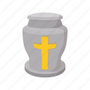 burial, cartoon, dead, death, funeral, grave, urn icon
