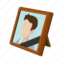 cartoon, death, frame, funeral, mourning, obituary, ribbon icon