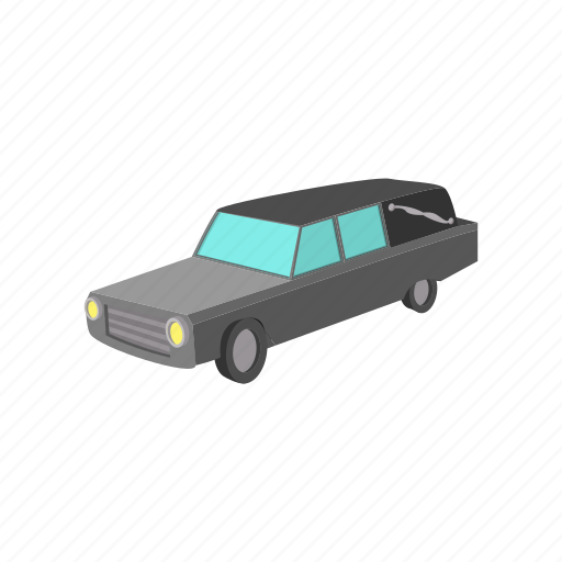 car, cartoon, death, funeral, hearse, service, transport icon