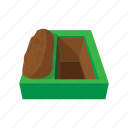 cartoon, cemetery, death, funeral, grave, graveyard, ground icon