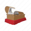 box, cartoon, coffin, cross, dead, fear, grave icon