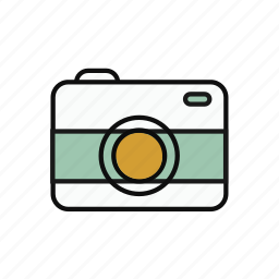 analog, camera, lovely, multicolor, round, traveling icon