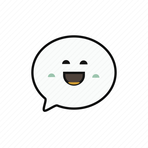 chat, lovely, massage, multicolor, round, smile icon