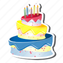 birthdaycake, cake, candles, celebration, party, three layer cake, three tear cake icon