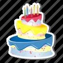birthdaycake, cake, candles, celebration, party, three layer cake, three tear cake icon