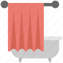 bathroom, bathroom interiors, bathtub with hanging towel, home interior, modern bathroom icon
