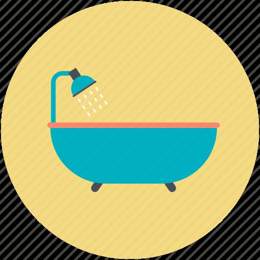 bath, bathing tub, bathtub, shower, shower tub icon