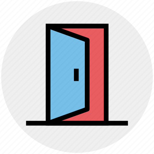 door, enter, exit, log out, logout, open, sign out icon