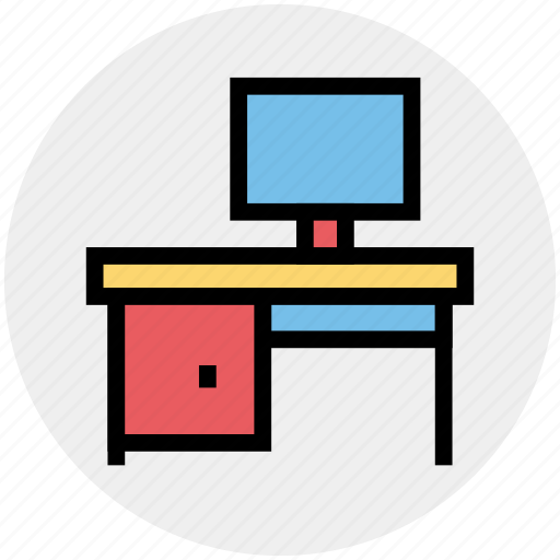 computer, computer table, desk, office desk, office table, pc table, work icon
