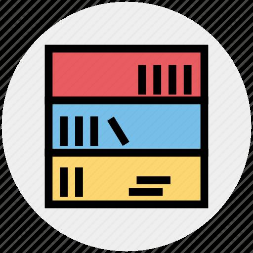 books, bookshelf, furniture, interior, library, shelf, study icon