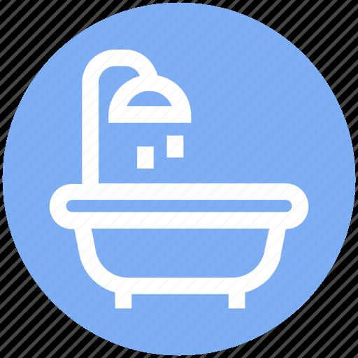 bath, bathroom, bathtub, hot tub, real estate, shower, thin icon