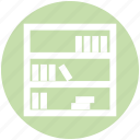 books, bookshelf, furniture, interior, library, shelf, study icon