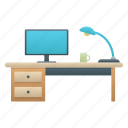 computer, desk, furniture, glass, lamp, working space icon
