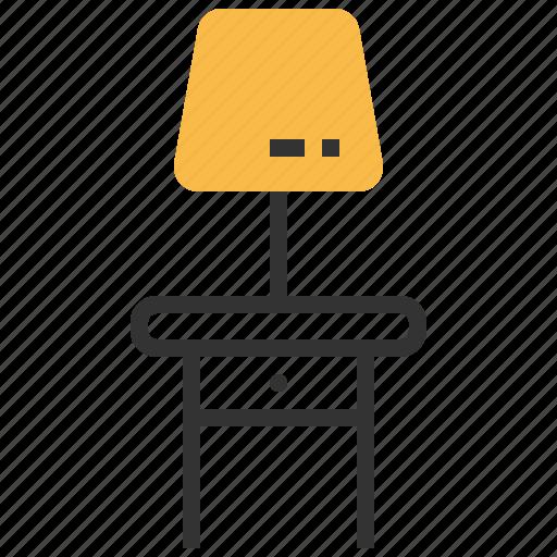 furniture, interior, lamp, light, table icon