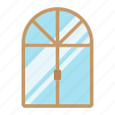 comfortable, furniture, glass, house, interior, window icon