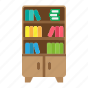bookshelf, comfortable, furniture, house, interior, wooden icon