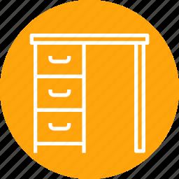 books, drawer, furniture, household, imitation, study, table icon