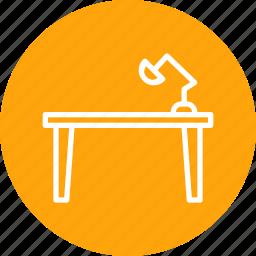belongings, desk, furnishing, furniture, household, study, table icon