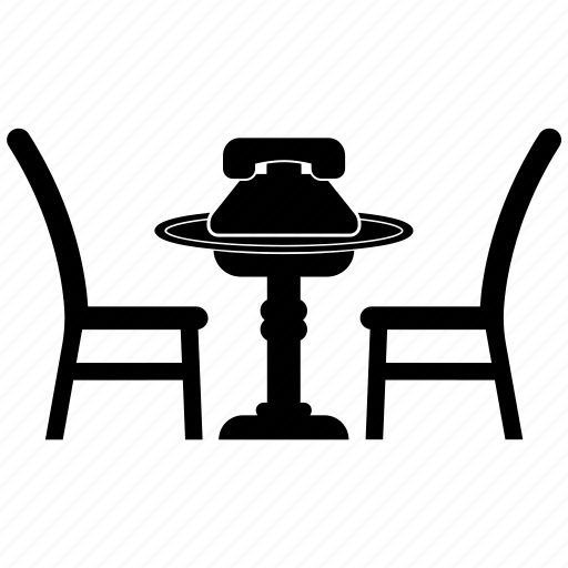 chair, desk, furniture, table, telephone icon