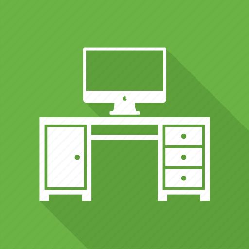 computer, computer desk, computer table, office icon