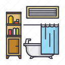 bath, bathroom, furniture, home, hotel, room, shower icon