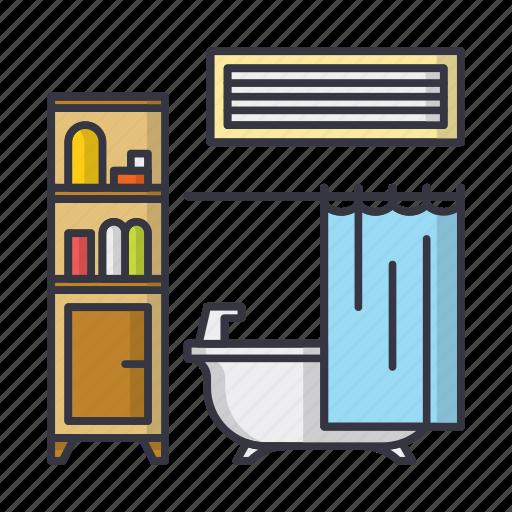 bath, bathroom, furniture, home, hotel, room, shower icon
