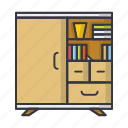 books, cupboard, dresser, furniture, shelf icon