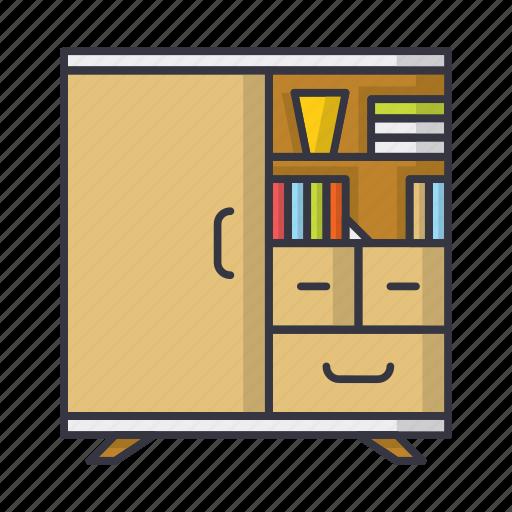 books, cupboard, dresser, furniture, shelf icon