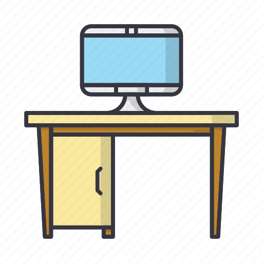computer, desk, furniture, table, workplace icon