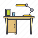 desk, furniture, lamp, table icon