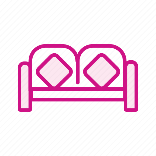 bed, bedroom, cot, furniture, hotel, pillow, single bed icon