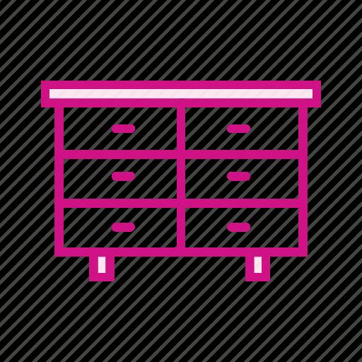 cupboard, drawers, furniture, rack, shelf, storage icon